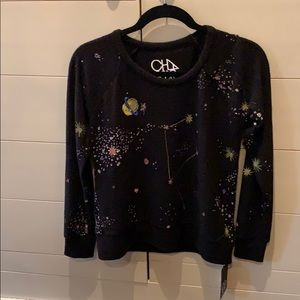 Spaced Out, Chaser, Black sweatshirt, glitter star